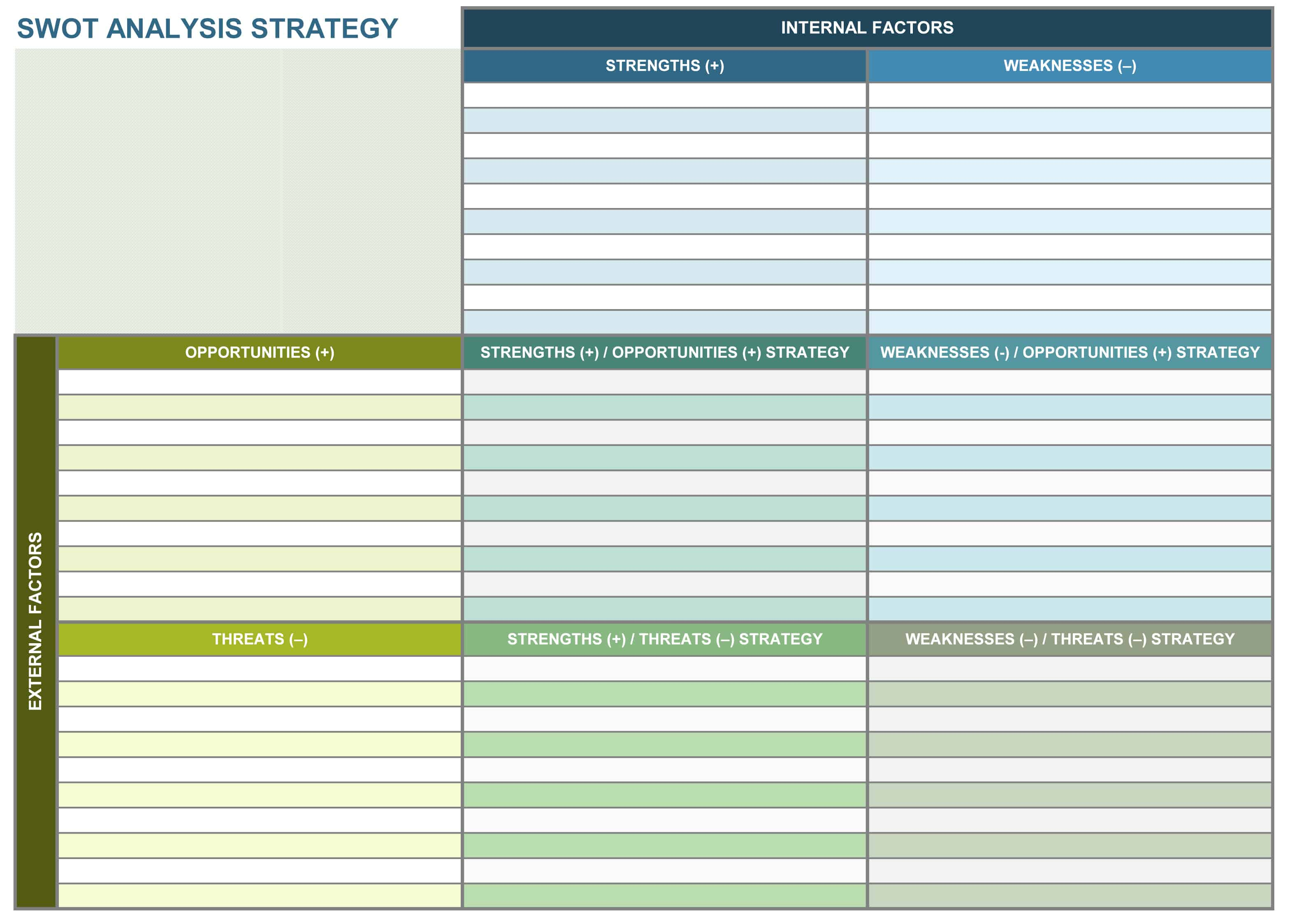 Swot Analysis Strategy Excel Template  Planner Template Word