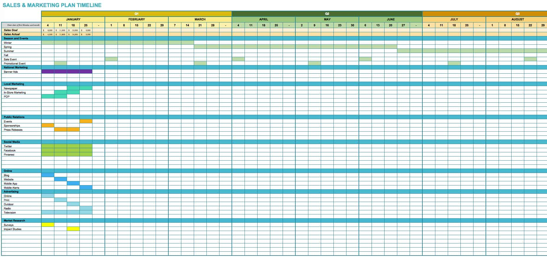 SalesAndMarketingPlanTimeline · Download Excel Template