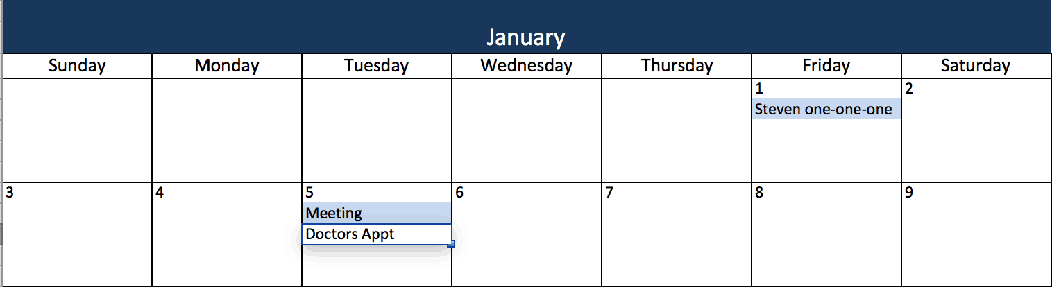 event calendar in excel
