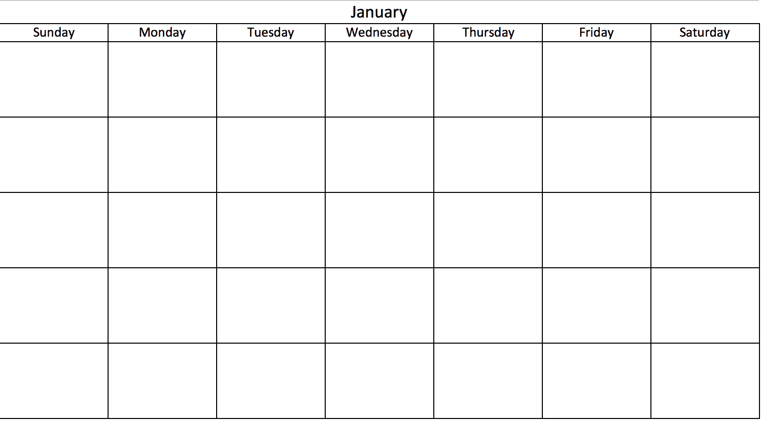 Blank No Dates Calendar In Excel  Days Of The Week Calendar Template
