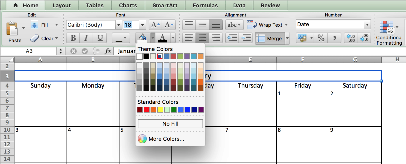 Make a 2018 calendar in excel includes free template choosing colors calendar in excel geenschuldenfo Choice Image