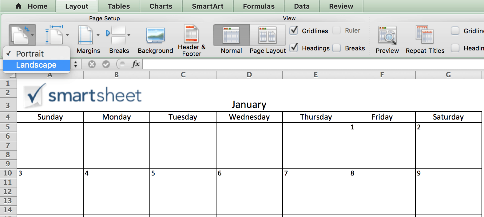 free calendar template for mac