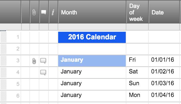 2016 Calendar in Day Adding Attachments