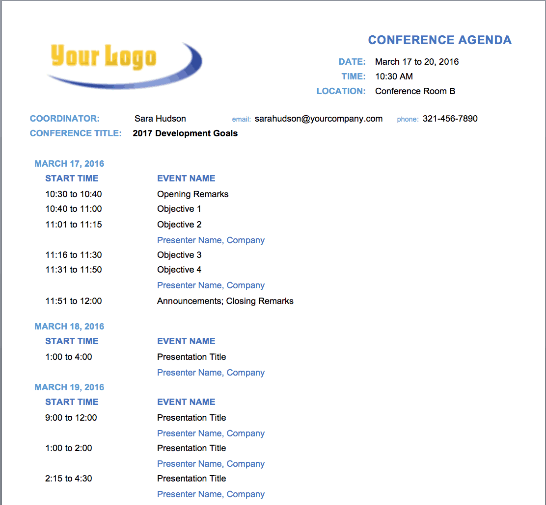 Free Meeting Agenda Templates Smartsheet – Conference Schedule Template