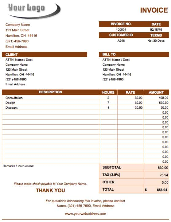 Free Microsoft Office Templates Smartsheet – Weekly Invoice Template