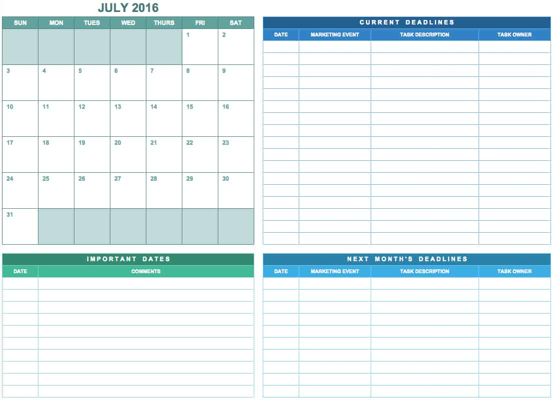 9 free marketing calendar templates for excel smartsheet simplemarketingcalendarg this simple template provides a monthly calendar saigontimesfo