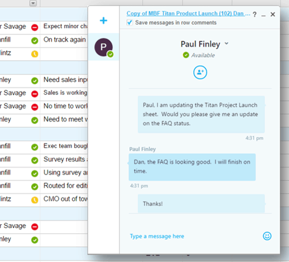 Skype for Business Chat Window in Smartsheet