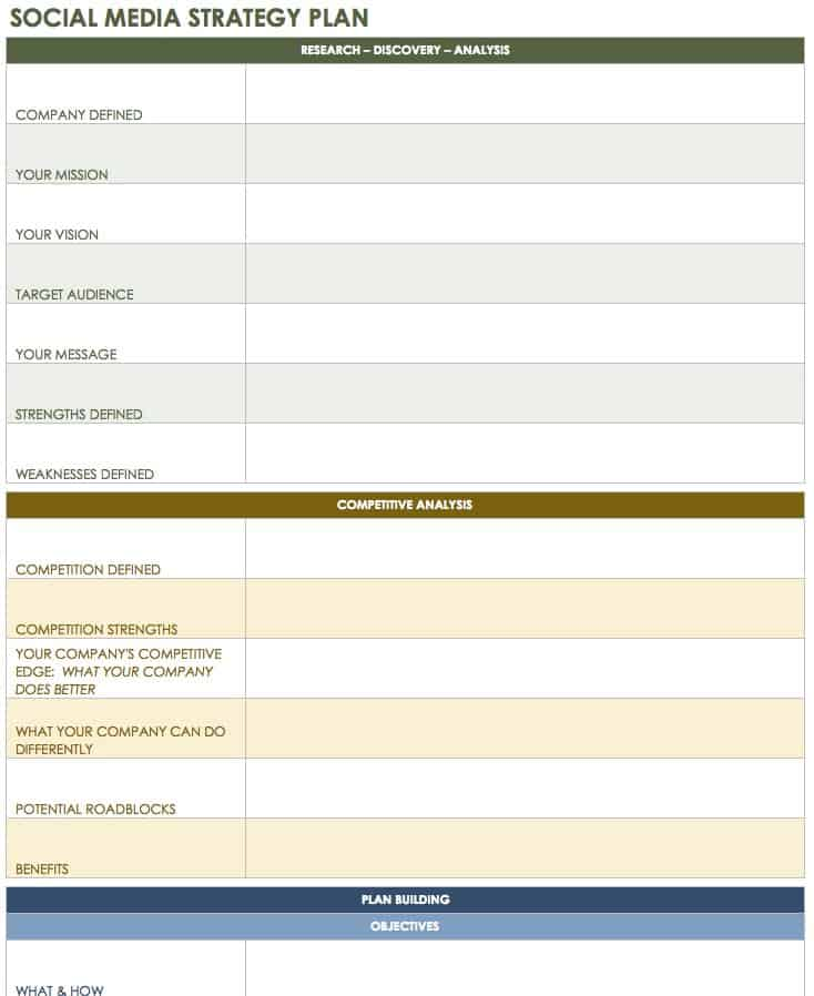 12 Free Social Media Templates Smartsheet – Media Plan Template