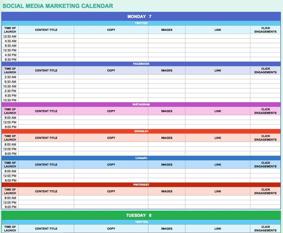marketing schedule template 28 images 4 marketing schedule – Sample Social Media Calendar