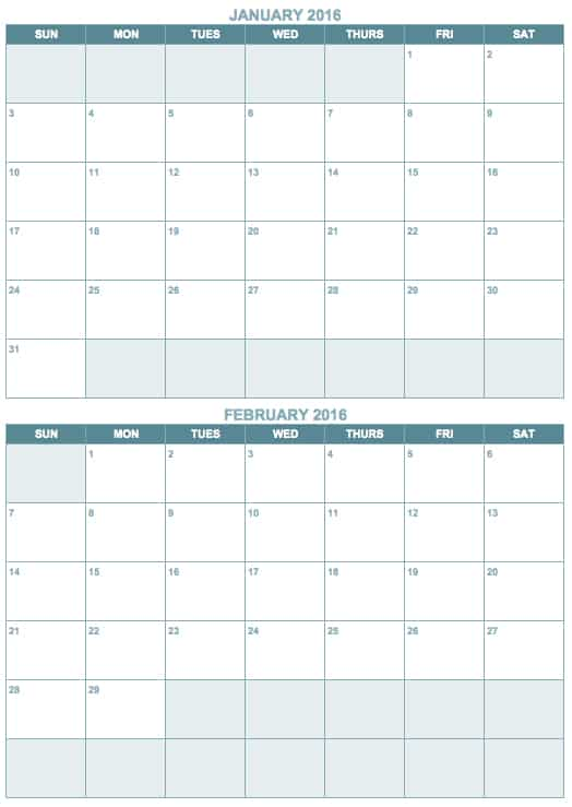 Free blank calendar templates smartsheet for Double month calendar template