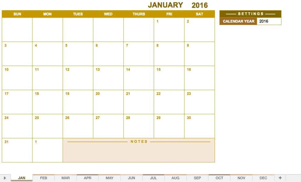 Any Year Monthly Calendar Template – Imvcorp