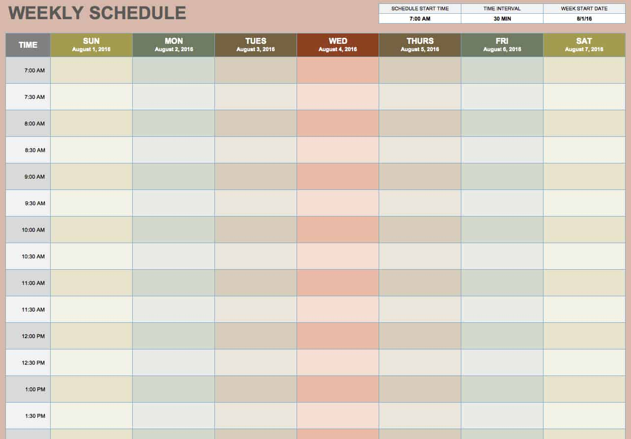 Agile image for blank weekly planner