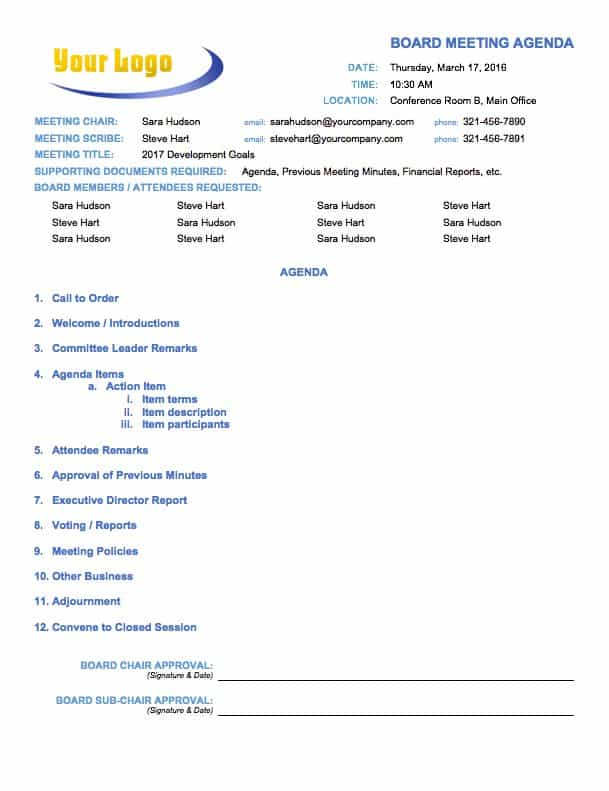 Temp_MeetingAgendaBoard. This Board Meeting Agenda Template ...  Agenda Template Free