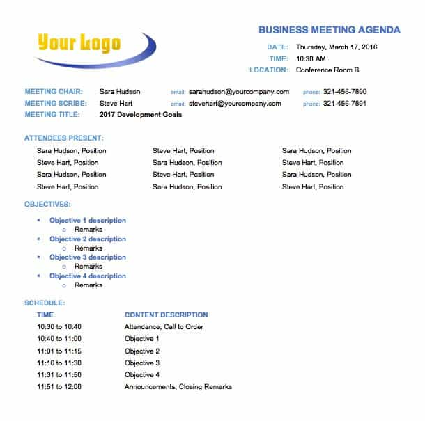 Free Meeting Agenda Templates Smartsheet – Sample Meeting Agenda Outline