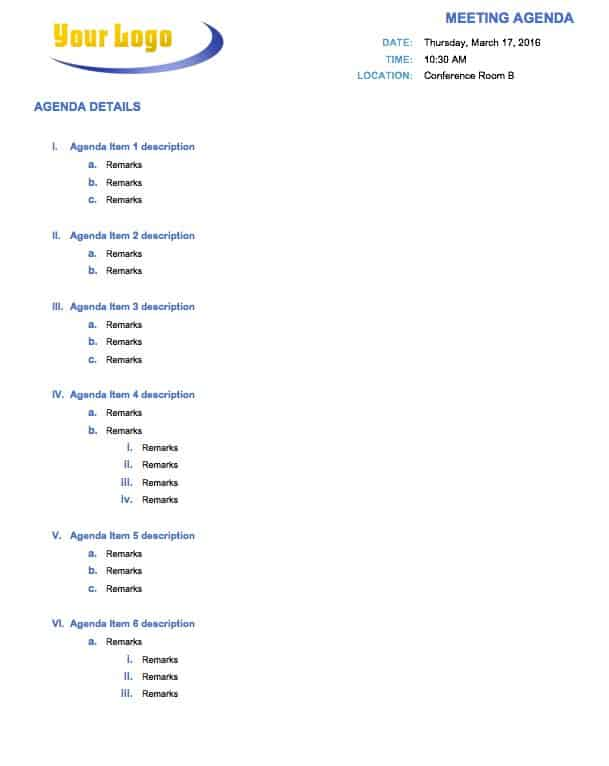 Meeting Agenda Word Template  Agenda Creator