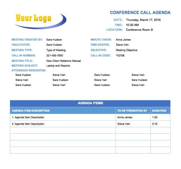 Temp_MeetingAgendaConfCall_0  Professional Meeting Agenda Template