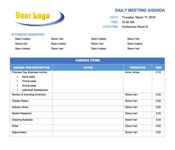 Free Meeting Agenda Templates Smartsheet – Business Agenda Template