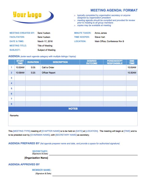 Free Meeting Agenda Templates Smartsheet – Sample Agenda Planner