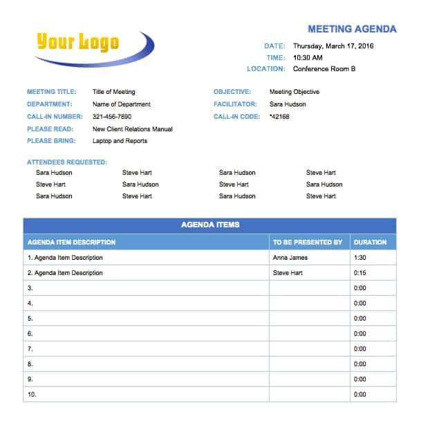 Free Meeting Agenda Templates Smartsheet – Basic Meeting Agenda Template