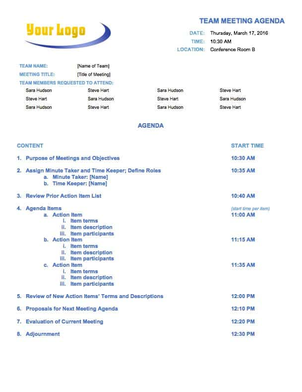 Temp_MeetingAgendaTeam. This Team Meeting Agenda Template ...  Agenda For Meeting Template