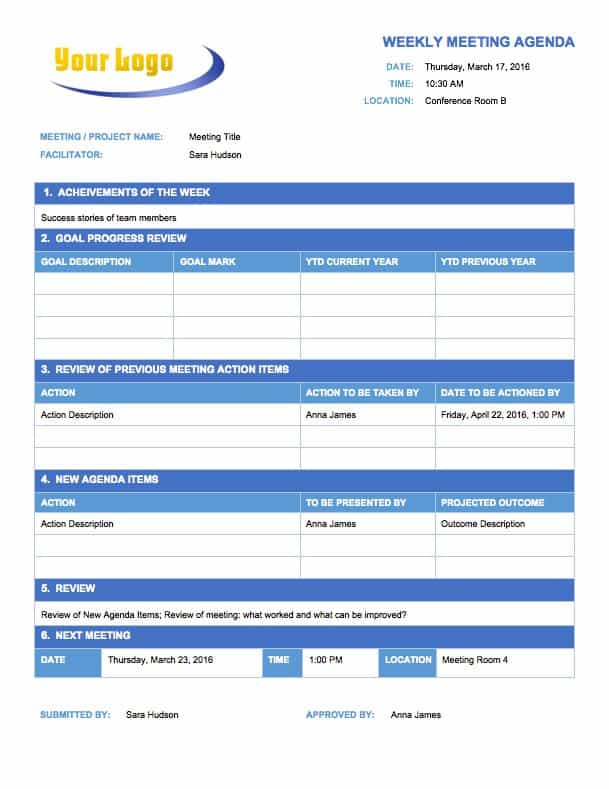 Temp_MeetingAgendaWeekly  Agenda Sample Template