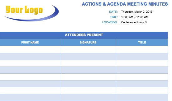 Free Meeting Minutes Template for Microsoft Word – Agenda Layout Template