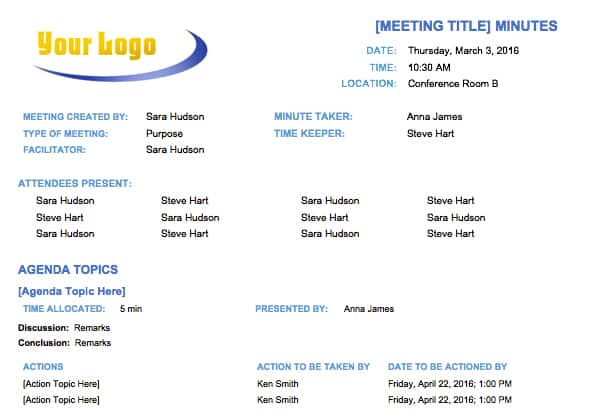 Basic Meeting Minutes Template  Free Sample Minutes Of Meeting Template