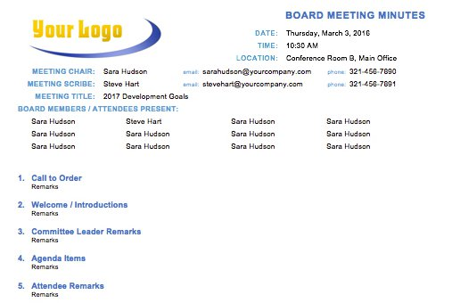Board Meeting Minutes Template Regard To Minutes Agenda Template