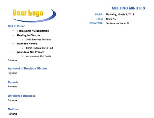 Classic Meeting Minutes Template  Free Sample Minutes Of Meeting Template
