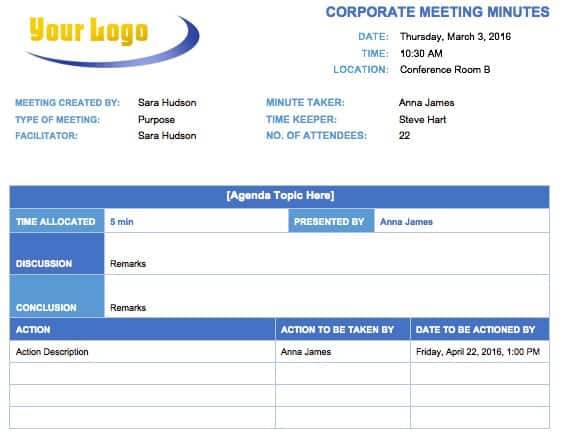 Corporate Meeting Minutes Template  Minutes Agenda Template