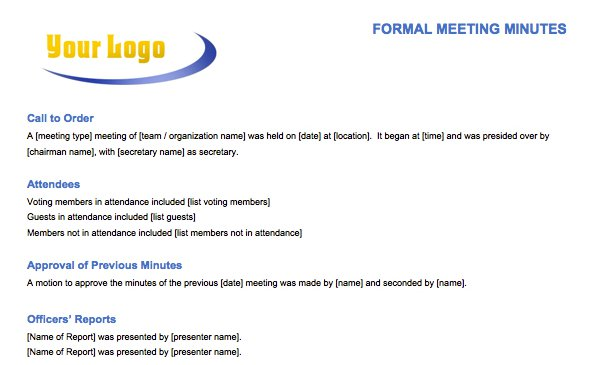 Formal Meeting Minutes Template  Free Sample Minutes Of Meeting Template