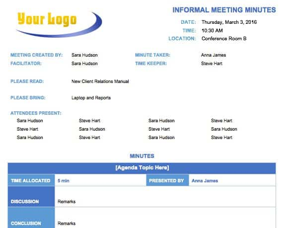 Informal Meeting Minutes Template  Free Sample Minutes Of Meeting Template