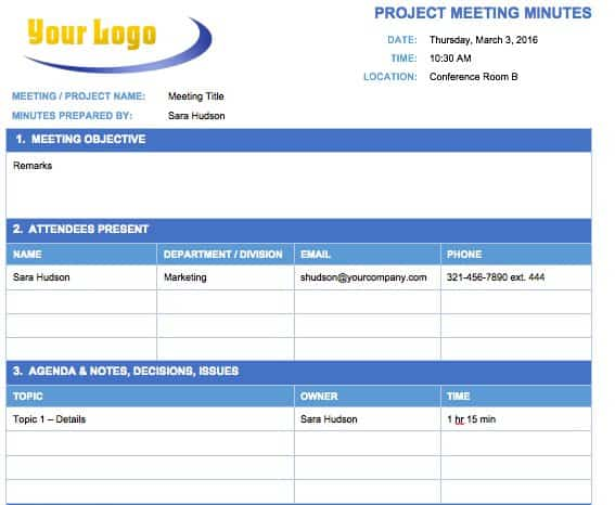 Project Meeting Minutes Template  Free Sample Minutes Of Meeting Template