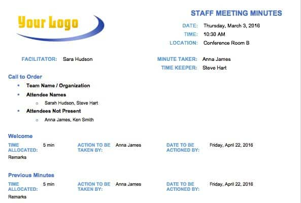 Lovely Staff Meeting Minutes Template Regarding Free Sample Minutes Of Meeting Template