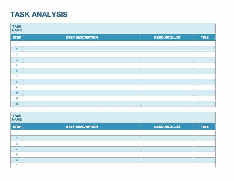 Task Analysis Template  Project Task List Template Word