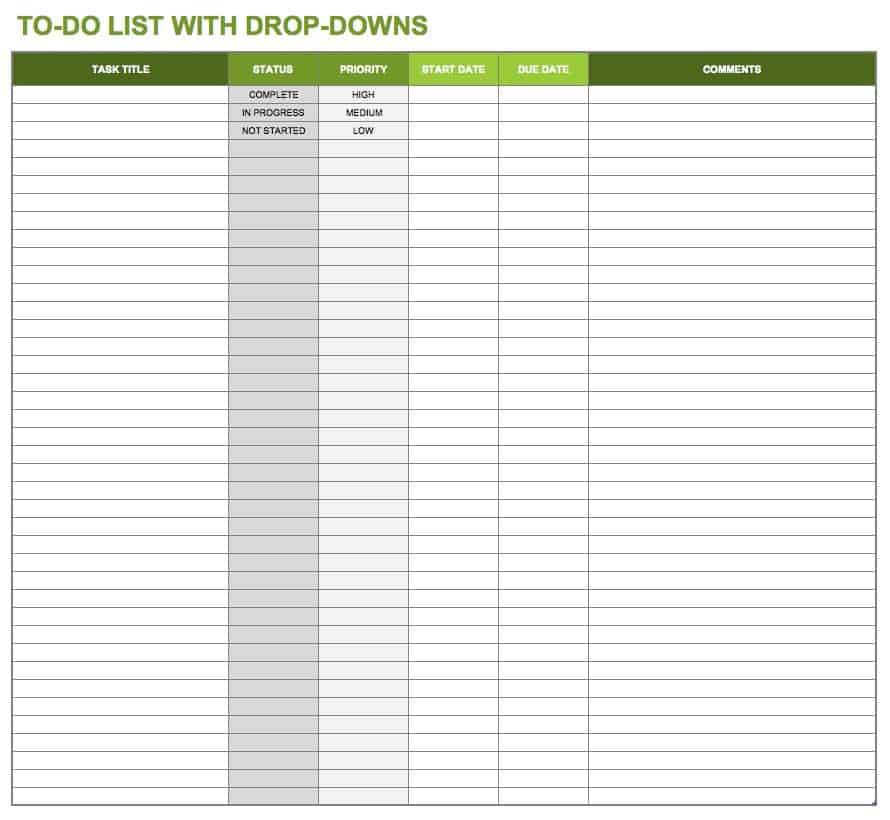 Temp_ToDoListWithDropDowns · Download Excel Template  Daily Task Checklist Template