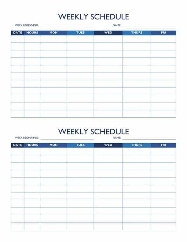 Free Work Schedule Templates for Word and Excel – 5 Day Schedule Template