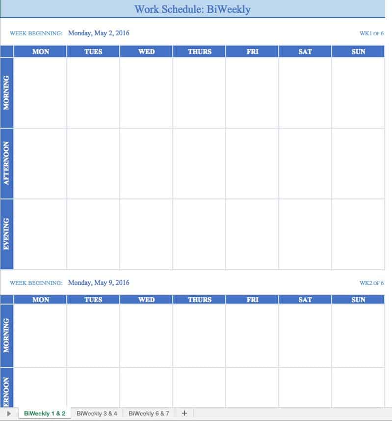 work schedule calendar template