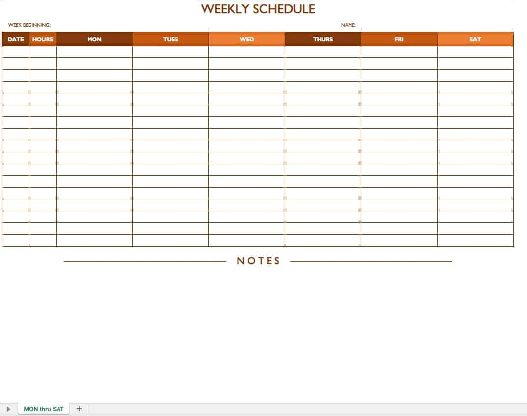 mon sat weekly work schedule template with notes