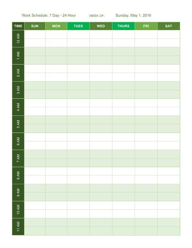 24 Hour Work Schedule Template Excel