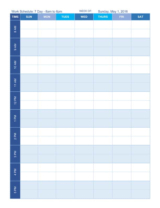 Work Schedule Templates in Word Format