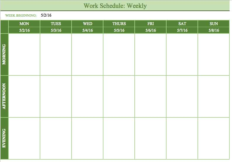 Free Work Schedule Templates for Word and Excel – Monday to Sunday Schedule Template