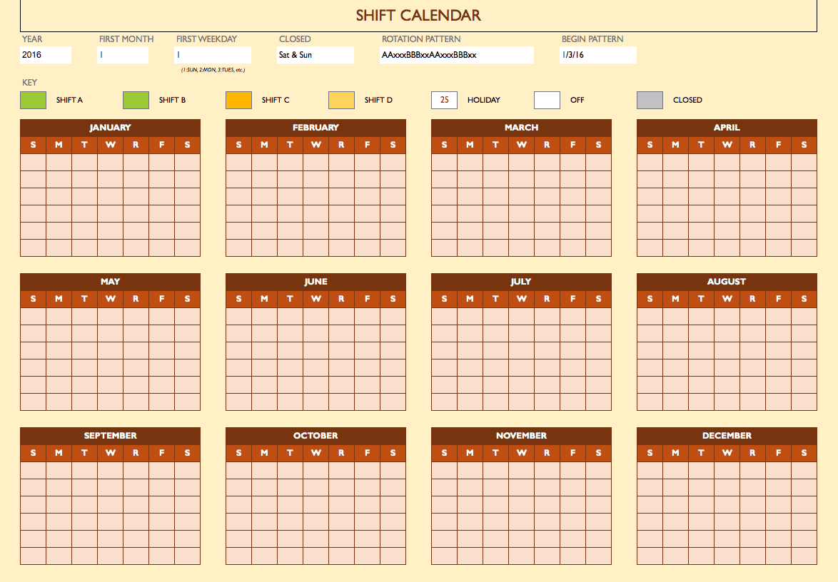 Shift Work Calendar  Monday To Sunday Schedule Template