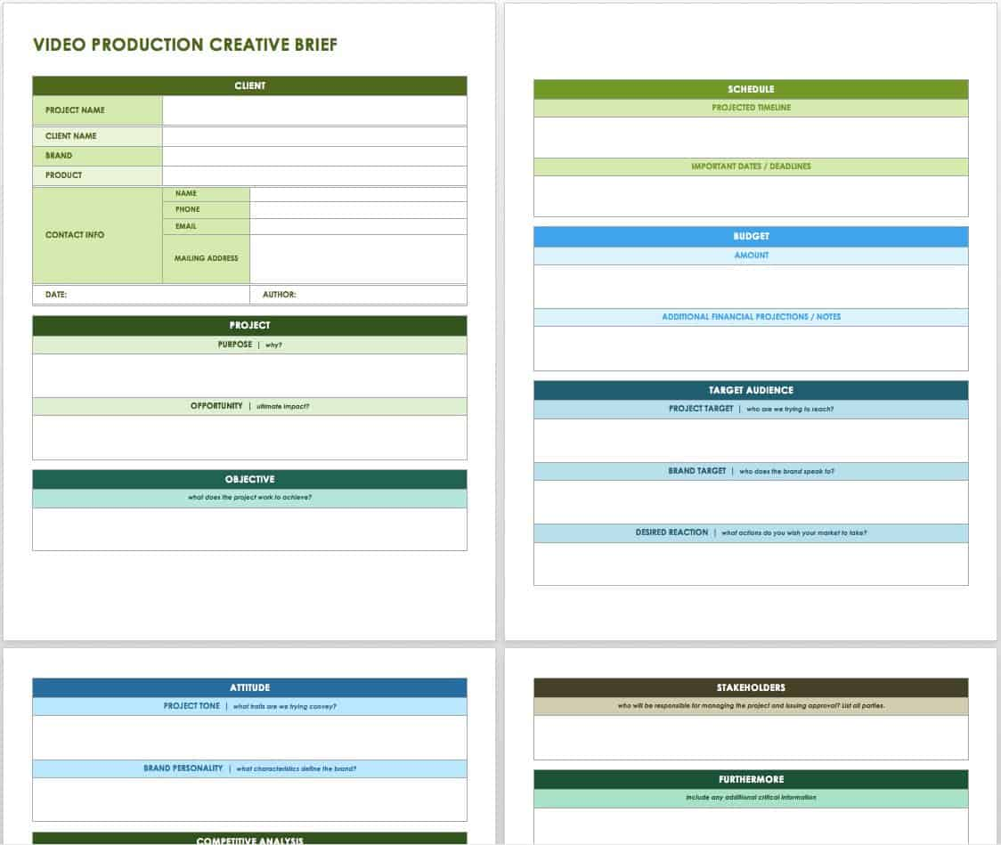 Free Creative Brief Templates Smartsheet - Video production timeline template