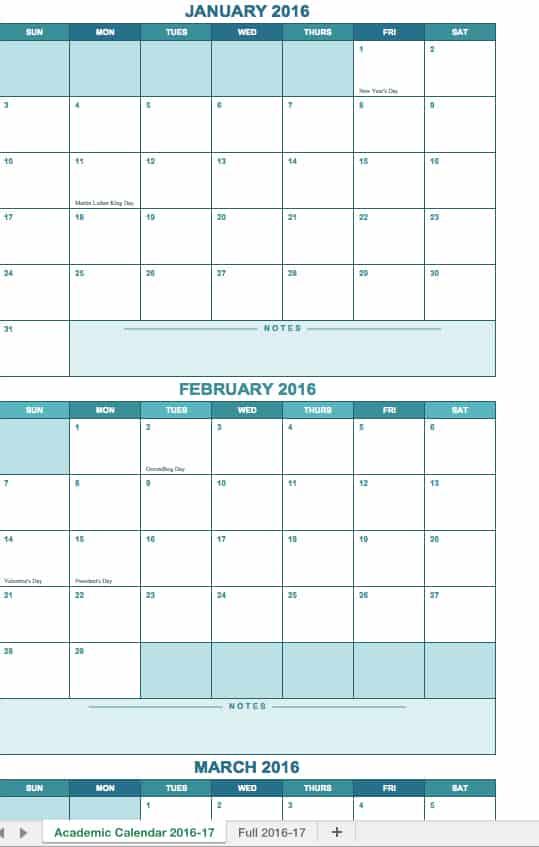semester schedule template