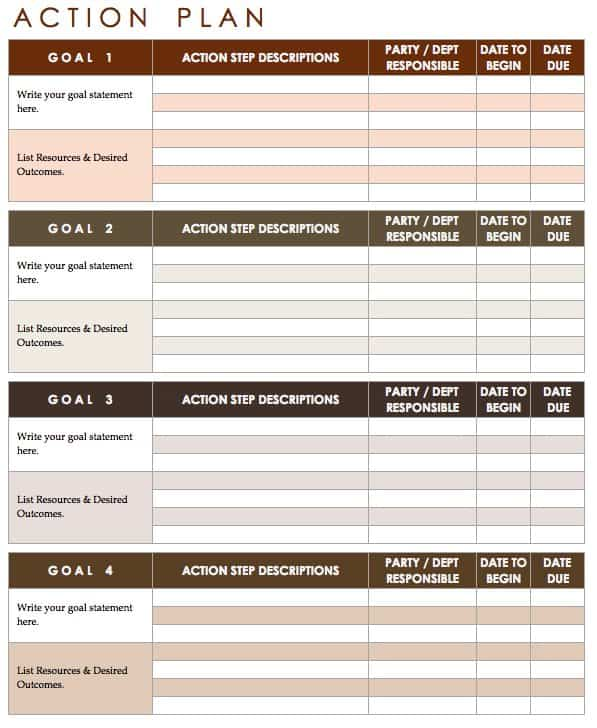Action Plan Template  Individual Action Plan Template