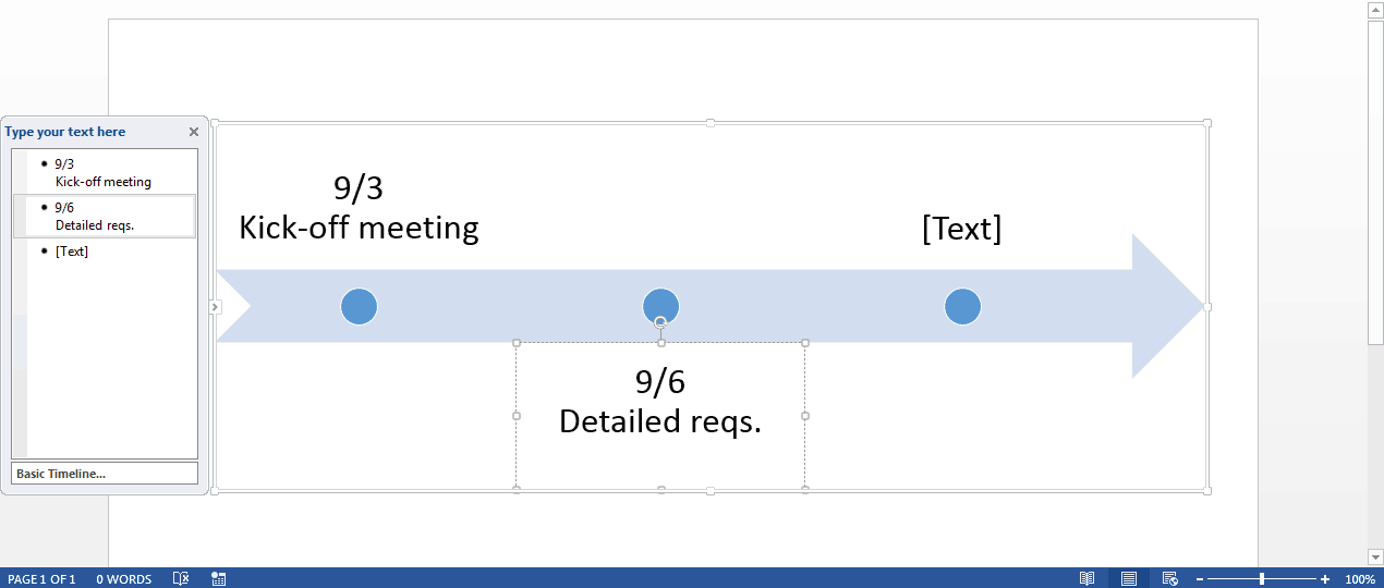 add project information to the timeline in word