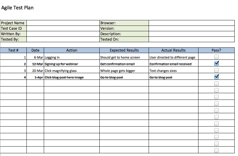 agile test plan template - Sample Project Plan