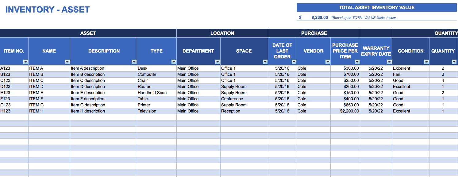 Asset Tracking Template  Inventory Worksheet Template