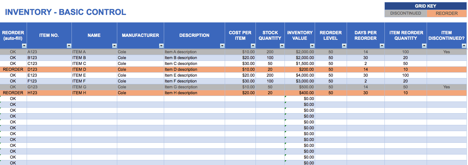 Free Excel Inventory Templates - Invoice inventory excel for service business